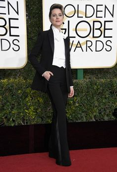 Westworld's Evan Rachel Wood kept her awards-show tuxedo streak alive with a custom Altuzarra look. The Best Actress in a TV Drama nominee's outfit also featured none other than an oversized pussybow blouse.