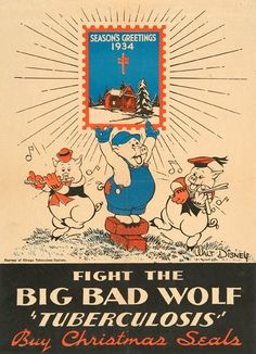 Vintage Disney Collectibles: The Disney Three Little Pigs poster was created in 1934 for the Minnesota Public Health Association. Disney Cartoon Characters, Disney Cartoons, Disney Christmas, Vintage Christmas, Classic Fairy Tales, Big Bad Wolf, Vintage Medical, Three Little Pigs, Medical History