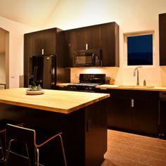 Contemporary Kitchens With Dark Cabinets kitchen: butcher block countertop, dark cabinets, light hardwood