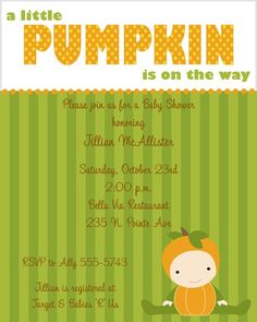 Pumpkin Baby Shower Invitations by ExpressionsPaperie on Etsy