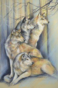 Wolf Pack ~ by artibird, pastel Beautiful Wolves, Animals Beautiful, Wolf Pack Tattoo, Spiritual Animal, Wolf Painting, Wolf Spirit Animal, Wolf Love, She Wolf, Anime Wolf