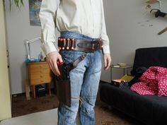 Leather belt with maverick holster