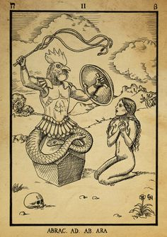 'Abraxas' by *dashinvaine. http://dashinvaine.deviantart.com/art/Alchemy-woodcut-Abraxas-366995037