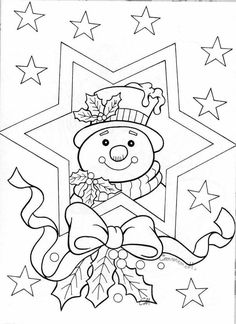 Christmas Coloring Pages - Snowman Christmas Coloring Pages, Coloring Book Pages, Coloring Sheets, Snowman Coloring Pages, Christmas Colors, Christmas Art, Family Christmas, Christmas Decorations, Christmas Ornaments