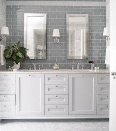 Heather Garrett Design - bathrooms - gray subway tile, gray subway tiled backsplash, mirror framed mirror, beveled mirror, beveled vanity mi...