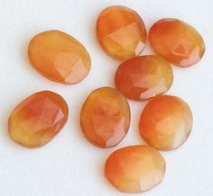 8 Pcs Shaded Orange Chalcedony Cabochons Faceted by gemsforjewels