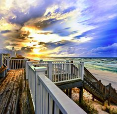 """""""White Staircase before Beach with Blue Gold Sunset"""" by Eszra Tanner: A white staircase before a bright and colorful <b>Blue and Golden</b> sunset.  you can see the Florida panhandles emerald green water in the distance.  Landscape taken at <i>Water Color Beach, Flor..."""