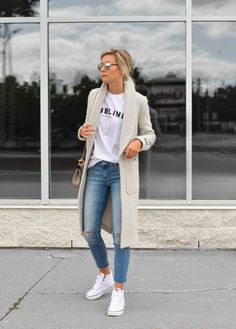 Street Style | Grey Jacket & High Tops