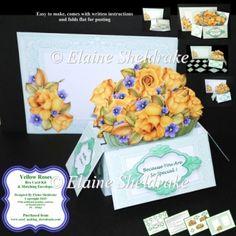 Yellow Roses - 3D Pop-Up Box Card Kit & Matching Envelope