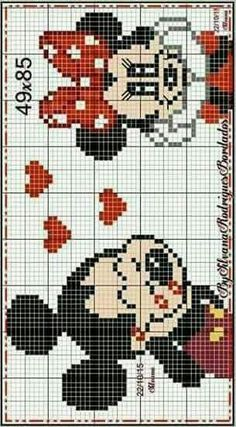 Minnie and Mickey Mouse x-stitch Mickey Mouse, Loom Patterns, Cross Stitch Patterns, Pixel Art, Disney Stich, Disney Quilt, Crochet Disney, Disney Ornaments, Cross Stitch Baby
