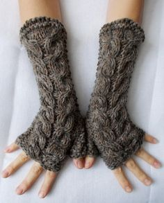 Hand Knitted Fingerless Gloves / Wrist Warmers in Brown Cabled Soft and Warm