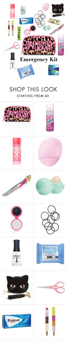 """""""My Emergency Kit!"""" by lilyy-b ❤ liked on Polyvore featuring Victoria's Secret PINK, Batiste, Eos, The Wet Brush, H&M, ORLY, Neutrogena, Skinnydip and Boohoo"""