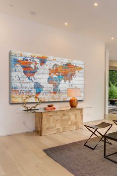 Colorful map wall art