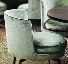 Green velvet chairs by Flexform in The Jane restaurant, Antwerp, Belgium, designed by Piet Boon #restaurantdesign