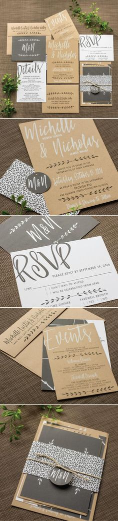 Industrial Chic Wedding Invitation by Ashley Parker Creative for a Modern Wedding on Kraft Paper with Charcoal Ink and illustrations of Ferns and Leaves.