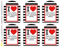 Perfect for the teacher at Valentines! Classic stripes and hearts!  Print at home and attach to your valentines gifts!  or Teacher Appreciation! Teacher Appreciation Printable Gift Tags by sunshinetulipdesign