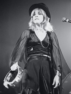 Stevie Nicks signature flowing chiffon frock and black hat
