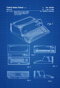 A patent print poster of an early Apple Computer invented by Steve Jobs.  The patent was issued by the United States Patent Office on April 12,…