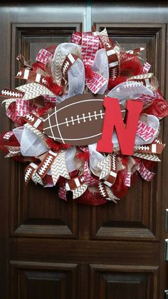 Burlap Mesh Nebraska Husker Wreath Football Wreath by Jarabels