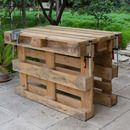 Picture of Workbench made with 3 pallets, no tools, no nails, no screws. W would use as outdoor kitchen space- make the empty part of pallet into shelves We got an idea to make a workbench from pallet wood. Pallet Crafts, Diy Pallet Projects, Pallet Ideas, Wood Projects, Woodworking Projects, Woodworking Shop, Pallet Workbench Ideas, Pallet Designs, Woodworking Joints