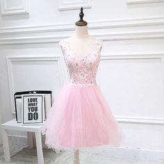 Pink Tulle Lace Sweetheart A-line Cocktail Dress, Pink Tulle Homecoming Dresses, Party Dress With Open Back, Pink Short Prom Dress