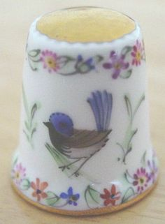543 Hand Painted Porcelain Bird Flowers Thimble by Artist Beate of Australia | eBay  Oct 27, 2013 / US $27.13