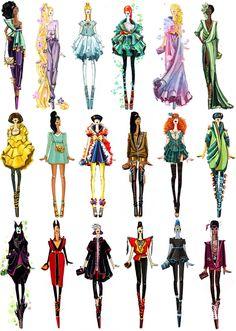 Modern Disney Princesses & Villains goes fashion by Sashii-Kami