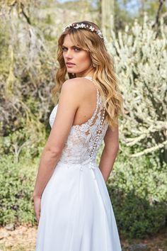 Available at Adore Bridal Boutique- www.adorebridalga.com Lillian West Chiffon A-line Gown with Racerback and High Slit