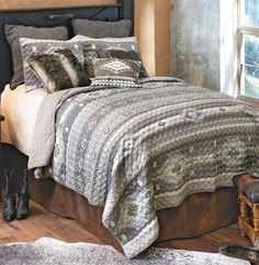A Lone Star Western Décor Exclusive - Add southwest sophistication to your bedroom with a diamond and arrow pattern in shades of gray on this lightweight polyester bedding with a coordinating reverse. Sets include quilt and two shams (king has king shams). Machine wash.