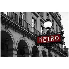 Paris Photography, Metro Sign Street Lamp, Paris Black and White... ($15) ❤ liked on Polyvore featuring home, home decor, wall art, backgrounds, building, fillers, photography, black white and red wall art, red street signs and photo wall art