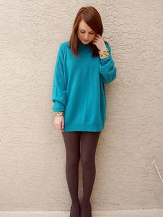 Sweater dress and tights and wedges