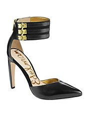 Glam up your look with these sleek ankle cuff pumps from #SamEdelman #studs #gold #black #heels