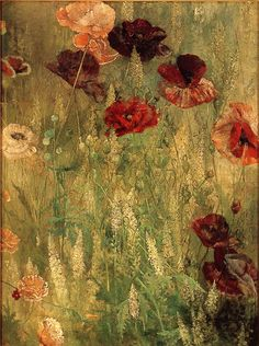 """Poppies and Italian Mignotte (c. 1891) Thomas Wilmer Dewing (1851-1938) Oil on Canvas 23 x 17 in. (58.4 x 43.2 cm)"