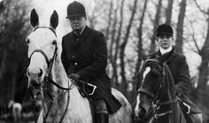 Winston Churchill out hunting with his son Randolph in 1928.
