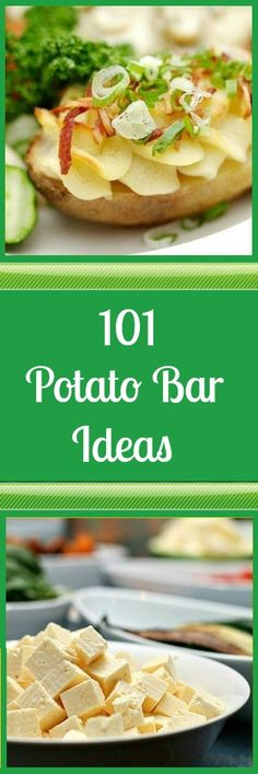 101 Potato Bar Ideas Dinner Dishes, Food Dishes, Baked Potato Bar, Baked Potatoes, Party Food Bars, Top Recipes, Potato Recipes, Recipies, Cooking For A Group