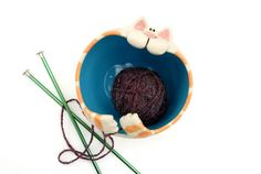 Ginger Tabby Cat Shaped Ceramic Yarn Bowl with by ShopBeckyZee