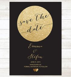 black gold save the date invitation gold by pinkdahliaprintable
