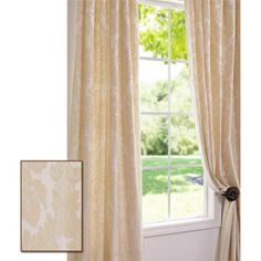 Mayfair Cream Color  95-inch Cotton Damask Curtain Panel