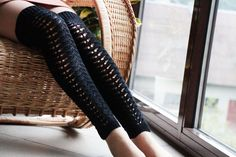 Buy Black extra long winter socks wool leggings leg warmers over the knee socks knit boot socks knitted accessories women Christmas winter gift by jolantaknit. Explore more products on http://jolantaknit.etsy.com