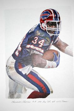 Thurman Thomas Buffalo Bills Rare Art by AmericanAllStar on Etsy Football Is Life, Football Art, School Football, Vintage Football, Football Helmets, Football Players, Football Senior Pictures, Sports Pictures, Nfl Goat