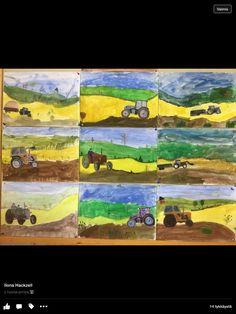 Farm Paintings, Farm Theme, Art Plastique, Science And Nature, Landscape Art, Collage, Garden, School, Landscapes