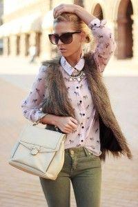 Fur vest, equestrian blouse, army green pants