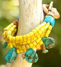 Mozambique Bracelet: Vintage Yellow Glass and Turquoise Charm Bracelet