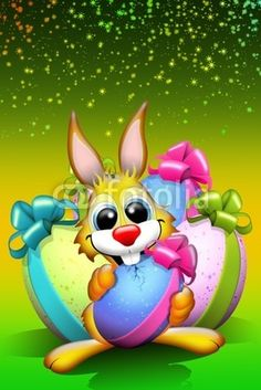 #Funny #Easter #Rabbit #Cartoon with #Colored #Eggs © bluedarkat > http://it.fotolia.com/id/12429100