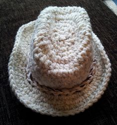 Ravelry: kazpaz's Crochet Baby Cowboy Hat (not free but couldn't resist making this!!) Took me about 6hrs as it's only the 2nd pattern I've followed...probably could be made in 3/4hrs.