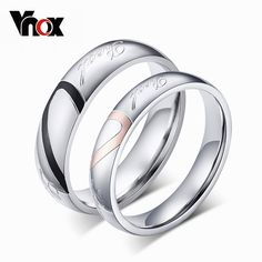 Daesar Mens Womens Wedding Rings Stainless Steel Heart Puzzle Wedding Bands Love Engraved Silver
