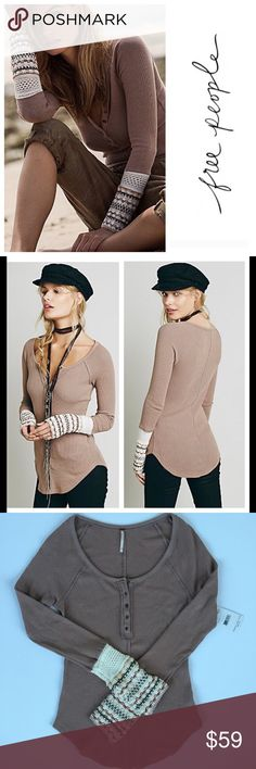Free People Ski Lodge Thermal NWT Ski lodge thermal in mushroom color. Slightly stretchy rounded, unfinished hem thermal featuring a scoop neckline. Super cute decorative cuff with snap detailing! Brand new, size medium    No trades No ️aypal No Merc ✅Posh Rules ✅Use Offer Button ✅Bundle for 15% off  Free People Tops