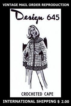 645 Vintage 1960's Mail Order Design Womens CROCHET CAPE Coat Crocheting Pattern #PATTERNPEDDLER645