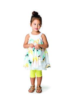 #Catimini #Urban #Robe #Foulard #Imprimé #Géométrique #Legging #Jaune #Vert