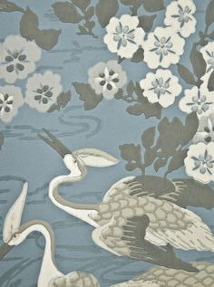 Herons Wallpaper Marine blue wallpaper with heron and floral print in dark grey and white.
